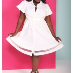 White belted shirt dress Christian Siriano for LB